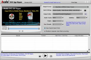 Acala DVD 3gp Ripper main screen