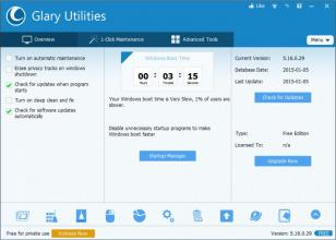 Glary Utilities main screen