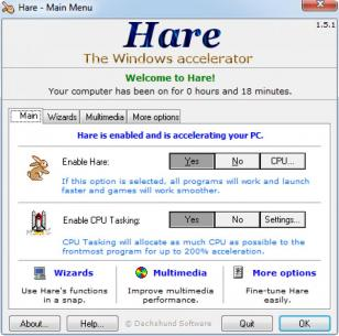 Hare main screen