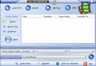 Airy DVD Converter main screen