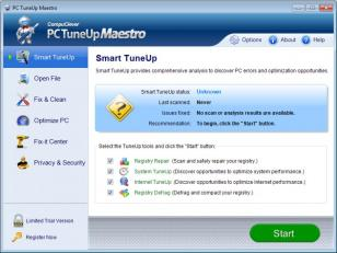 PC TuneUp Maestro main screen