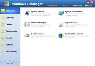 Windows 7 Manager main screen