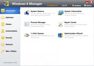 Windows 8 Manager main screen