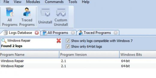 Find Windows Repair in Logs Database List