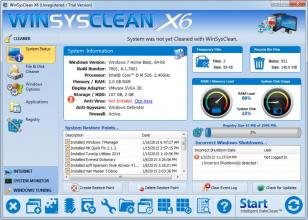 WinSysClean X6 main screen