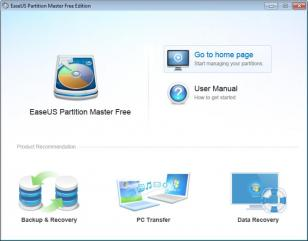 EaseUS Partition Master main screen