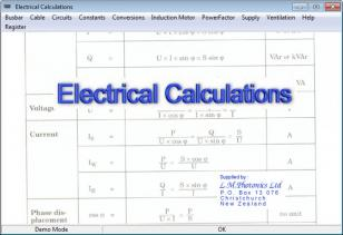 Electrical Calculations main screen