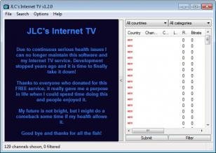 JLC's Internet TV main screen