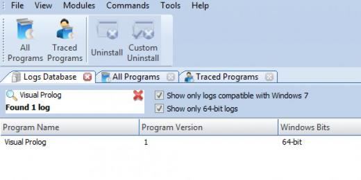 Find Visual Prolog in Logs Database List