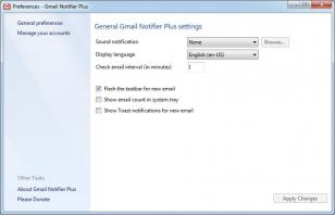 Gmail Notifier Plus main screen