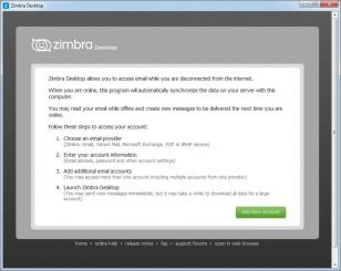 Zimbra Desktop main screen