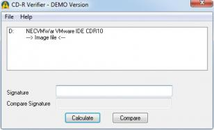 CD-R Verifier main screen