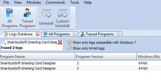 Find SmartsysSoft Greeting Card Designer in Logs Database List