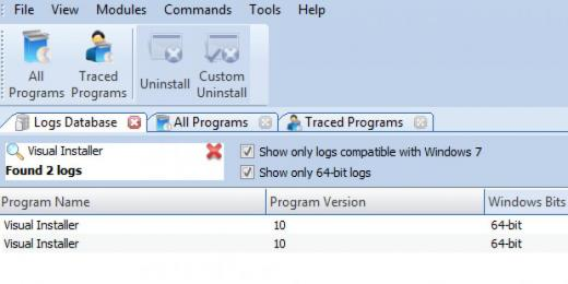 Find Visual Installer in Logs Database List