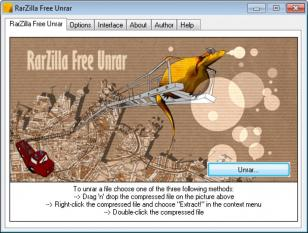 RarZilla Free Unrar main screen