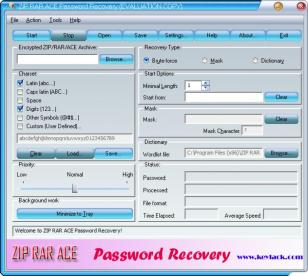 ZIP RAR ACE Password Recovery main screen