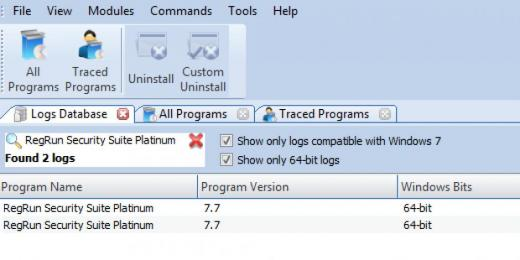 Find RegRun Security Suite Platinum in Logs Database List