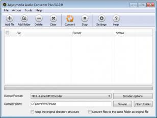 Audio Converter Plus main screen