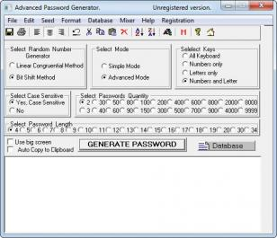 Advanced Password Generator main screen