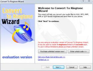 Convert To Ringtone Wizard main screen
