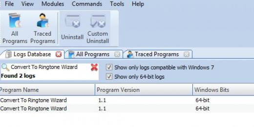 Find Convert To Ringtone Wizard in Logs Database List