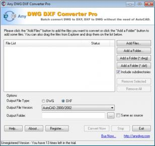 Any DWG DXF Converter Pro main screen