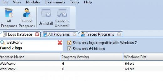 Find WebPconv in Logs Database List