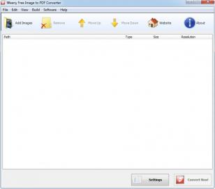 Weeny Free Image to PDF Converter main screen