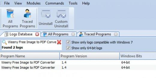 Find Weeny Free Image to PDF Converter in Logs Database List