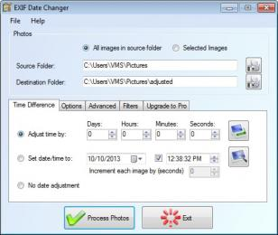 EXIF Date Changer main screen