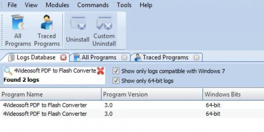 Find 4Videosoft PDF to Flash Converter in Logs Database List