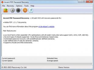 Accent PDF Password Recovery main screen