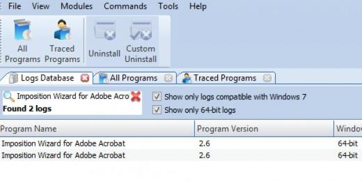 Find Imposition Wizard for Adobe Acrobat in Logs Database List