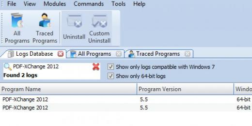 Find PDF-XChange 2012 in Logs Database List