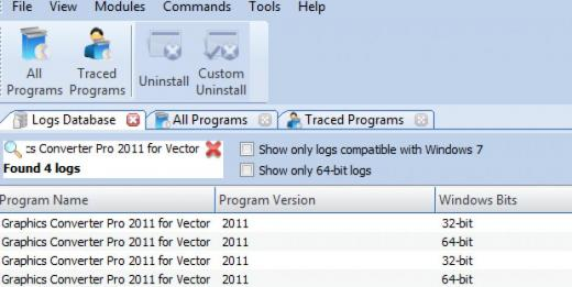 Find Graphics Converter Pro in Logs Database List