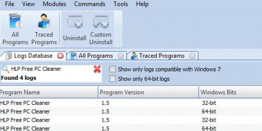 Find HLP Free PC Cleaner in Logs Database List