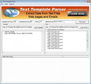 Text Template Parser main screen