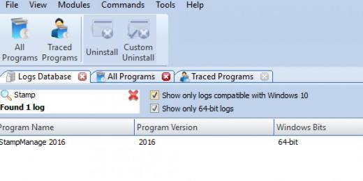 Find StampManage Deluxe 2016 in Logs Database List