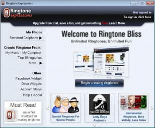 Ringtone Expressions main screen