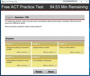 Free ACT Practice Test main screen