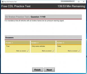 Free CDL Practice Test main screen