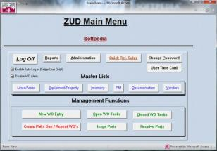 ZUD (CMMS) Database main screen