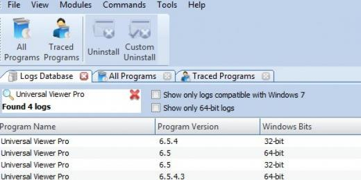 Find Universal Viewer Pro in Logs Database List