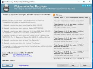 Anti Recovery main screen