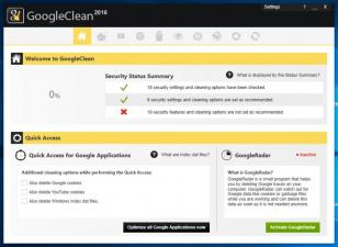 GoogleClean main screen