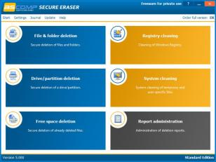 Secure Eraser main screen