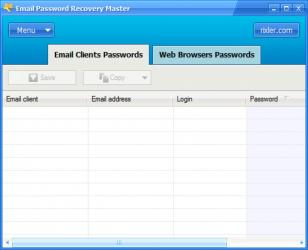 Email Password Recovery Master main screen