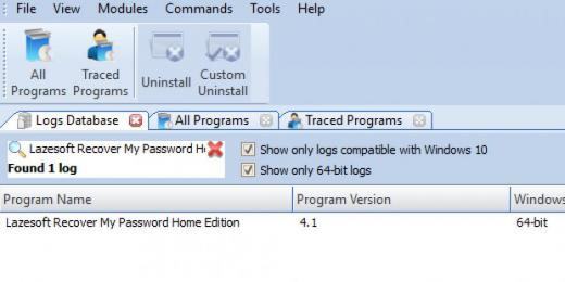 Find Lazesoft Recover My Password Home Edition in Logs Database List