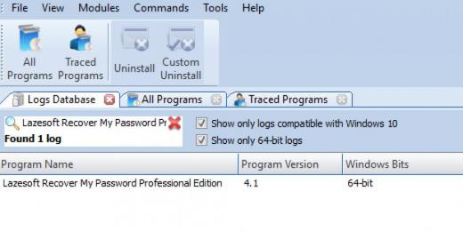 Find Lazesoft Recover My Password Professional Edition in Logs Database List