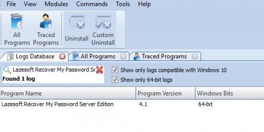 Find Lazesoft Recover My Password Server Edition in Logs Database List